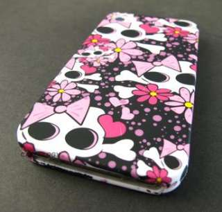 PINK WHITE CUTE SKULLS HARD SHELL CASE COVER APPLE IPHONE 4 4s PHONE