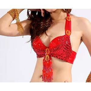 Dancing Bead Embroidered Bra Top With Pendants, Belly Dancing Costume