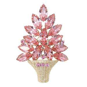 Glitzy Christmas Tree Brooch Pin Pink Swarovski Crystal