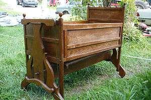 Antique Victorian Rocking Baby Crib   Wooden Cradle w Wind up Rocker