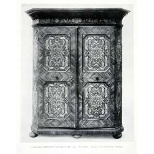 1927 Print Bavarian Cupboard Faux Inlay Wood Paint Museum Art Industry
