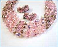 Vintage 50s WEISS Pink Austrian Crystals 4Str Necklace