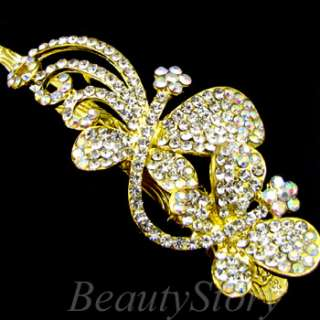 SHIPPING Austrian rhinestone crystal butterfly hair clamp clip