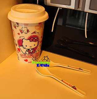Hello Kitty Ceramic Mug Tea Cup Coffee Cup w/ Lid Cover Spoon and Grip