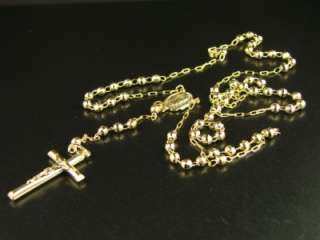 10k YELLOW GOLD ROSARY DIAMOND CUT NECKLACE CHAIN 25+4