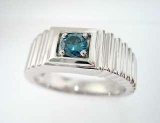 14K WHITE GOLD BLUE DIAMOND MENS RING VS2 0.25ct