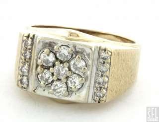 14K 2 TONE GOLD ELEGANT 1.0CT DIAMOND CLUSTER MENS RING SIZE 10.25