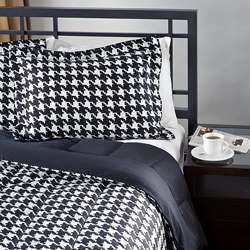 White/ Black Houndstooth King size Comforter Set