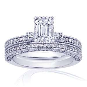 1.50 Ct Emerald Cut Diamond Engagement Wedding Rings Pave