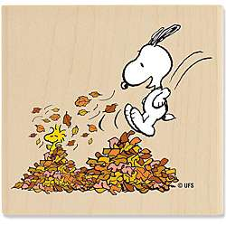 Peanuts Leaf Piles Wood Mounted Rubber Stamp