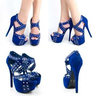 Royal Blue And Silver High Heels