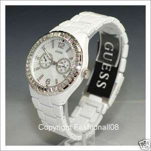 GUESS LADIES MOTHER PEARL WHITE SWAROVSKI WATCH G13552L