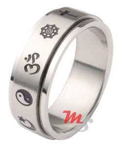 Ohm Om Yin Yang Religious Coexist Spinner Ring Size 5