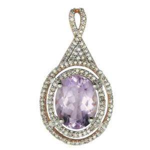 14K ROSE GOLD DIAMOND & PINK AMETHYST PENDANT NECKLACE