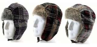 Woolrich Plaid Ear Flap Trooper Bomber Hat (Purple)