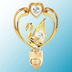 Swan In Heart 24k Gold/Crystal Night Light
