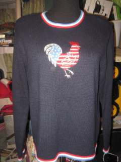 Christopher & Banks rooster red white blue sweater SZ L