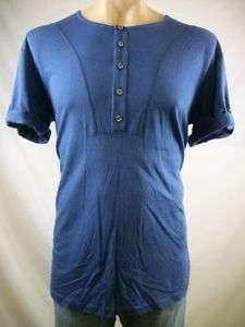 New Mens RICHARD CHAI Dark Blue Cuffed Henley Shirt Sm
