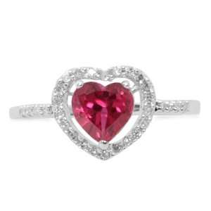 White Gold Heart Shaped Created Ruby w/ Diamonds Heart Ring, Size 10