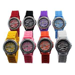 Quartz Ladies Womens Silicone Band Crystal Jelly Wristwatch Watches