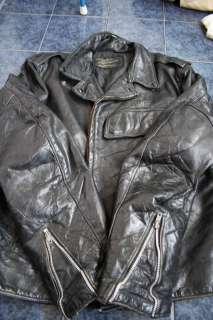 Vtg 50s POLICE Black HORSEHIDE Leather Motorcycle Biker Jacket Large