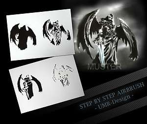 Airbrush Stencil Template 4 Steps AS 106 M Size 5,11 x 3,95