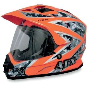 AFX FX 39 Dual Sport Motorcycle Helmet Safety Orange Camo