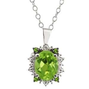 Genuine Oval Green Peridot Gemstone Sterling Silver Pendant Jewelry