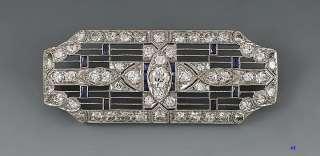 QUALITY ART DECO PLATINUM DIAMOND SAPPHIRE PIN/BROOCH