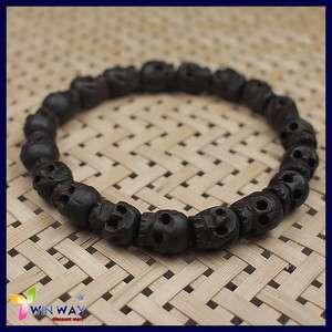Buddha Carved Skull Wood Beads Tibetan Prayer Bracelet