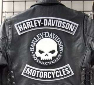 Harley Davidson Willie G Skull & top + Bottom Rockers Patch set 3