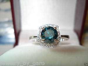 23CT 18K WG CERTIFIED BLUE & WHITE DIAMONDS ENGAGEMENT RING HALO