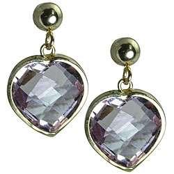 14k Yellow Gold Pink Amethyst Heart Stud Earrings