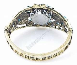 Blue Cuff Flower Bangle Bracelet Watch Rhinestone Crystal B46 7