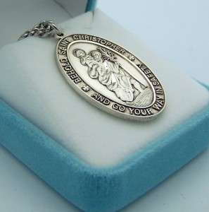 Sterling Silver St Saint Christopher Medal Necklace, 1 1/2 Big Piece