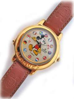VINTAGE LORUS MICKEY MOUSE GOLD MUSICAL FLAGS WATCH