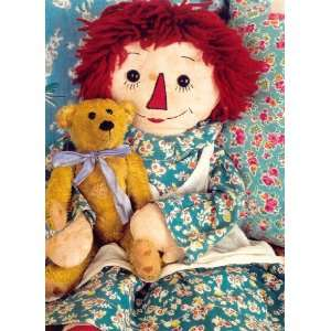 Raggedy Ann in Teal with Teddy Bear Valentines Day Card Toys & Games