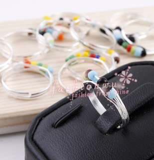 100pcs Silver Plated Colorful Glass Beads Girl Rings 1