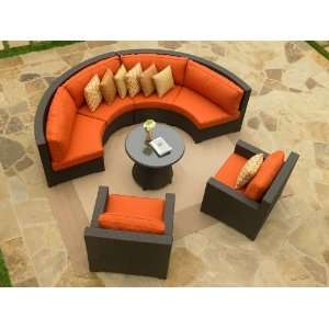 NorthCape Melrose Wicker Curved Sofa and Lounge Chairs Set