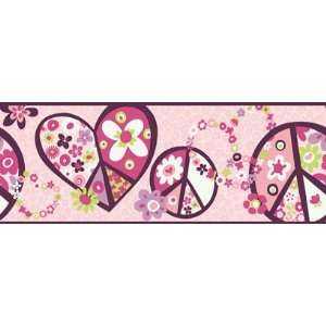 Peace Sign Pink Wallpaper Border in Girl Power II: Home