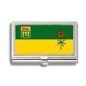 Saskatchewan Canada Flag Business Card Holder Metal Case