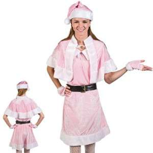 Pink Santa Helper Holiday Christmas Outfit Dress Cape Hat Costume Elf