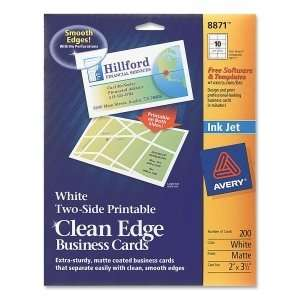 Avery Clean Edge Inkjet Business Card. 200 CARDS CLEANEDGE