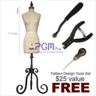 PGM Half Scale Ladies Dress Form Mannequin with Free Tools