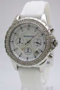 Michael Kors Women White Silicone Chrono Watch MK5389