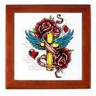 Artsmith Inc Keepsake Box Mahogany Roses Cross Hearts And Angel Wings