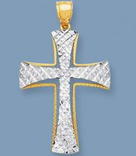 Mens LARGE SOLID Cross REAL 14K Yellow White Gold 5.7gr