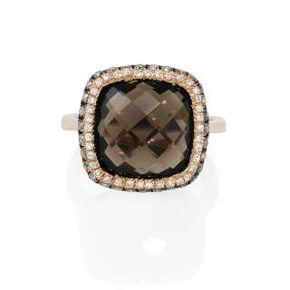 14k Rose Gold Diamond and Smokey Topaz Ring