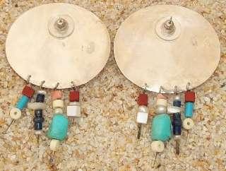 Huge GFMW Ox Bone Turquoise Sterling Dangle Earrings