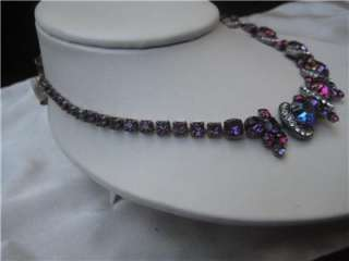 VINTAGE ESTATE STUNNING WEISS PURPLE BLUE RHINESTONE CHOKER NECKLACE